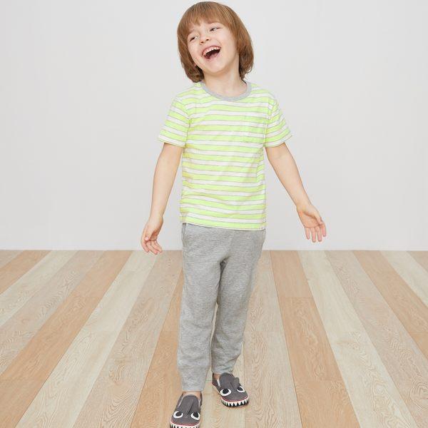 Gap男嬰幼童 基本款純棉兒童縮口運動褲 兒童長褲 215369-雜灰色