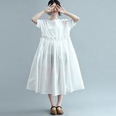 連身裙-短袖純色寬鬆高腰娃娃裙氣質女洋裝73te48【巴黎精品】