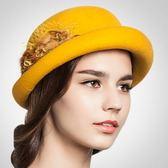 禮帽-毛球花朵時尚捲邊毛呢女帽子6色72b44[巴黎精品]