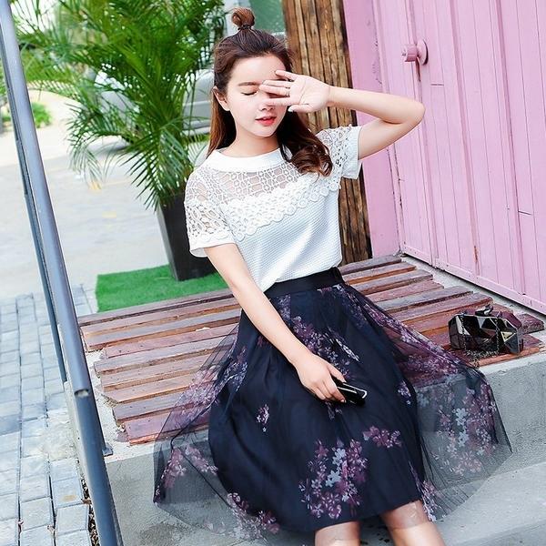 FINDSENSE G5 韓國時尚 白T恤 蓬蓬 連身裙 中長款 網紗 兩件套
