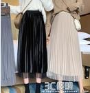秋冬2020新款女金絲絨網紗黑色半身裙高腰顯瘦百褶裙a字中長裙子 3C優購