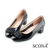 SCONA 蘇格南 全真皮 優雅舒適方釦中跟鞋 黑色 22811-1