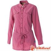 Wildland 荒野 女抗UV時尚長版襯衫 彈性纖維/顯瘦修身剪裁/防曬小罩衫/薄長袖 0A51211-32深粉