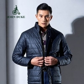 JOHN DUKE約翰公爵 設計師款立領拼接厚料外套 (丈青)