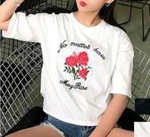 EASON SHOP GU1030 實拍韓國花朵刺袖英文圓領短袖T 恤棉T 上衣學院風寬鬆