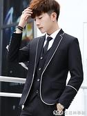 西服套裝男潮正裝休閒男士韓版修身青少年帥氣小西裝學生潮流外套 樂事館品