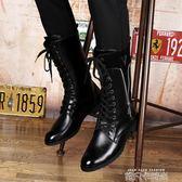 尖頭英倫系帶高筒靴男靴子韓版內增高男士皮靴男秋冬季保暖長靴潮 依凡卡時尚