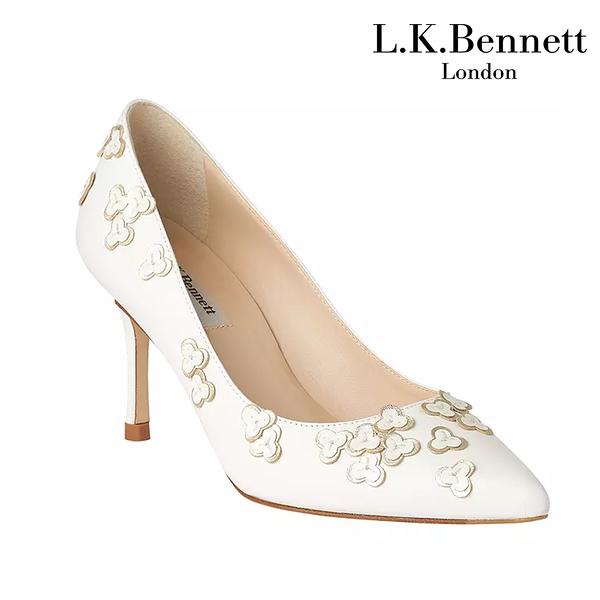 【L.K. BENNETT】凱特王妃摯愛品牌 LILLY真皮幸運草高跟鞋-白 (原廠公司貨)