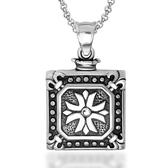 《QBOX 》FASHION 飾品【CSP543】精緻個性方形花紋十字架鑄造鈦鋼墬子項鍊/掛飾