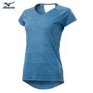 MIZUNO 女裝 短袖 T恤 慢跑 路跑 吸汗快乾 反光燙印 後背挖洞 煙灰藍【運動世界】J2TA120417