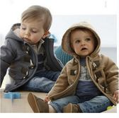 寶寶外套 英倫風雙層牛角扣連帽外套大衣 夾克 童裝 SK008 好娃娃