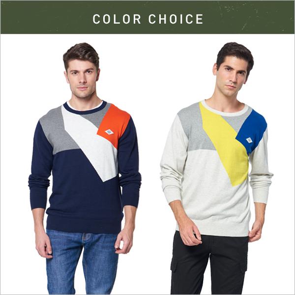 【JEEP】撞色拼接修身長袖針織衫 (藍色)