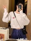 2020秋冬新款韓版慵懶白色衛衣女潮ins高腰短款長袖寬鬆薄款上衣