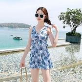 泳衣女保守連體裙式平角大碼溫泉2020新款ins風仙女范 PA14871『美好时光』