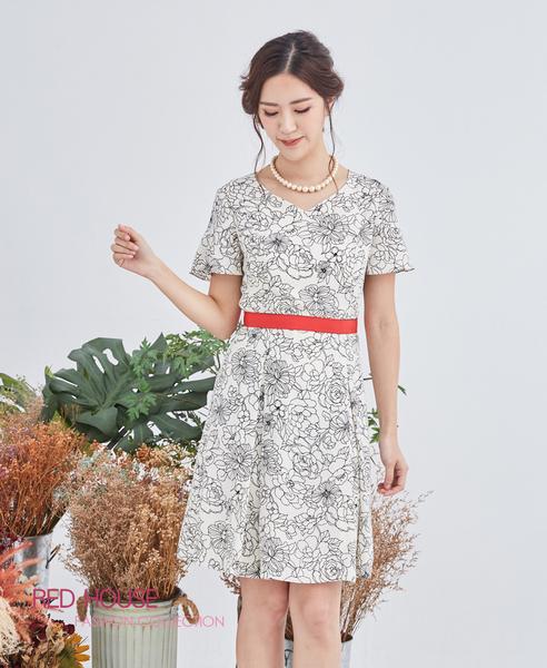【RED HOUSE 蕾赫斯】描花心型領洋裝(共2色)
