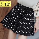 休閒褲--可愛清新滿版圓點風鬆緊綁帶裝飾雪紡素面褲裙(黑XL-4L)-R250眼圈熊中大尺碼◎