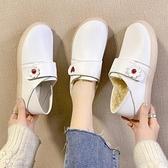 護士鞋女軟底2020冬季秋冬新款加絨棉鞋厚底增高豆豆鞋皮鞋小白鞋 【新年狂歡購】