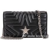 Stella McCartney Star WOC 小款星型鉚釘絎縫手拿鍊帶包(黑色) 1840153-01