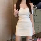 熱賣一字肩連身裙 赫本風法式心機一字肩顯瘦氣質連身裙夏季高腰短袖a字短裙子仙女【618 狂歡】