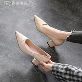 中跟粗跟鞋兩穿新款春季尖頭軟皮單鞋女中跟法式小高跟鞋粗跟鞋職業工作鞋 快速出貨