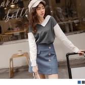 《AB11885-》純色異材質拼接襯衫V領上衣 OB嚴選