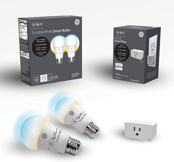智能燈泡 C by GE Smart LED Bulbs + Smart Plug Bundle (2 LED A19 Tunable White Light Bulbs + On/Off