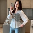 秋裝2021新款韓版雪紡女上衣時尚洋氣v領長袖顯瘦拼接襯衫 3C數位百貨