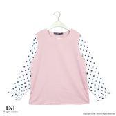 【INI】搶眼甜美、拼接點點雪紡質感上衣.粉色