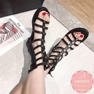 羅馬鞋 魚骨款低跟 平底涼鞋 大尺碼35-40*Kwoomi-A41