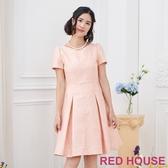 【RED HOUSE 蕾赫斯】緹花鑲金洋裝(粉色)