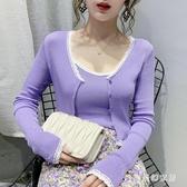 冰絲針織防曬衣女長袖2020夏裝新款背心兩件套蕾絲披肩式上衣外套 FX8337 【夢幻家居】