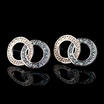 耳環 玫瑰金純銀 鑲鑽-環環相扣生日情人節禮物女飾品73hz59【時尚巴黎】