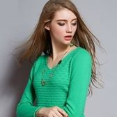 長袖羊毛衫-純色舒適保暖修身流行女V領毛衣8色72n27[巴黎精品]