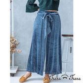 【Tiara Tiara】垂墜綁帶光澤感寬褲長褲(深藍/藍灰/墨黑)