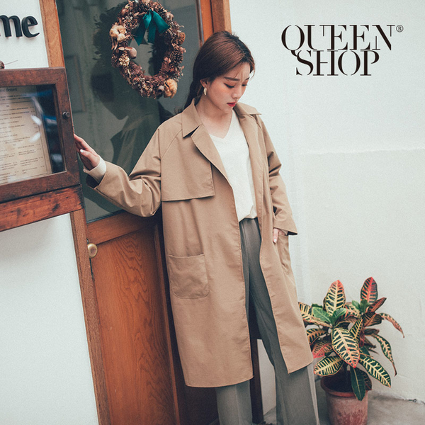 Queen Shop【02071146】開襟長版風衣外套*現+預*