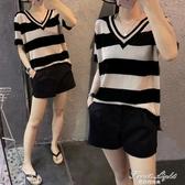 胖mm2020春夏新款大碼女裝胖妹妹顯瘦短袖t恤上衣冰絲針織衫200斤 果果輕時尚