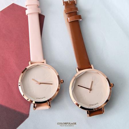手錶 正韓STACCATO寶石皮革腕錶 柒彩年代【NEK3】單支