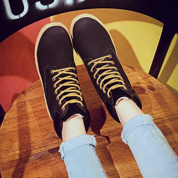 {丁果時尚}大尺碼女鞋35-44►歐美明星款低跟馬丁靴短靴子2色(僅賣現貨無絨款)
