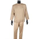 BURBERRY經典格紋全套男性居家睡衣-L(駝色)085520-1