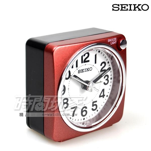 SEIKO精工錶 簡約雙色小巧鬧鐘 夜光照明 BEEP電子音鬧鈴 連續秒針/靜音秒針/夜光照明 QHE118R紅