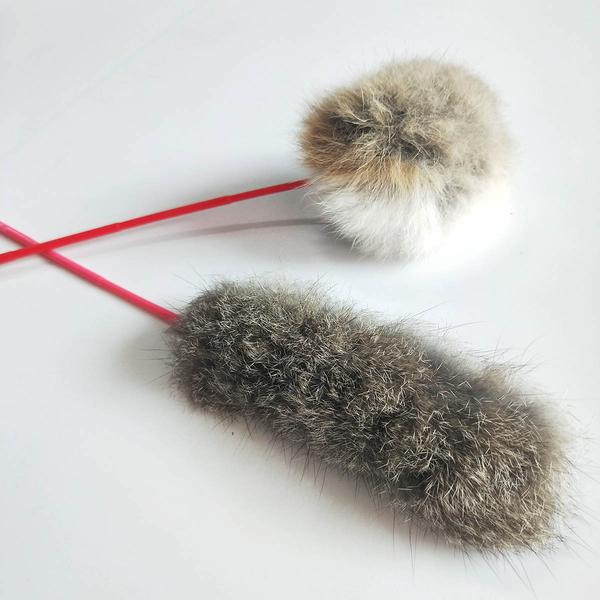逗貓玩具 仿真兔毛逗貓棒 仿真兔毛逗貓球 均一價99免運費【歐必買】