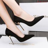 韓版小清新高跟鞋細跟尖頭公主單鞋