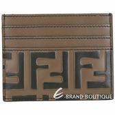 FENDI FF 配色小牛皮浮雕萬用卡片夾(棕色) 1920188-76