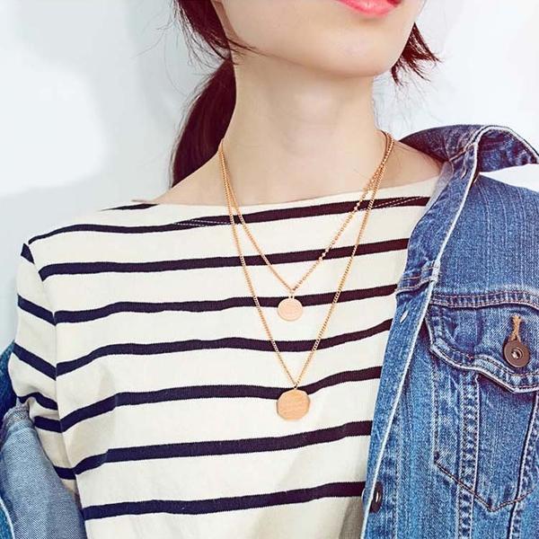 【5折超值價】時尚精美雙項鍊造型女款鈦鋼項鍊
