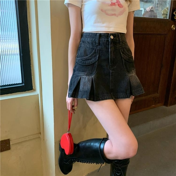 黑色牛仔半身裙女夏季高腰顯瘦a字百褶裙子2021新款性感包臀短裙 【端午節特惠】