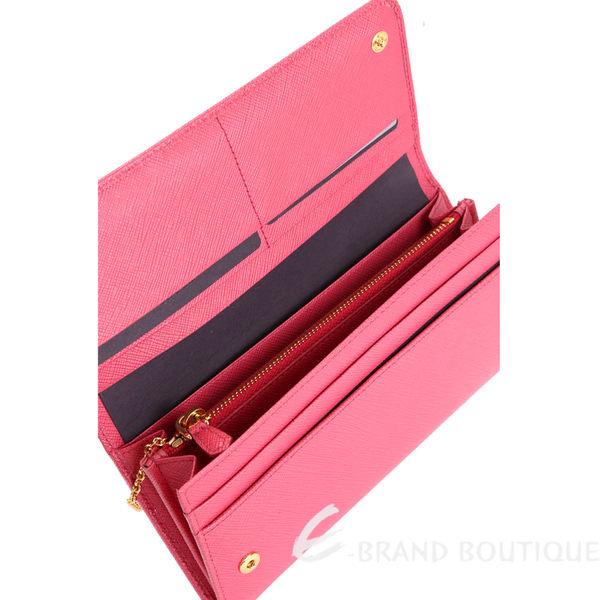 PRADA Saffiano 防刮牛皮金字釦式長夾(附可拆式證夾/深粉色) 1620102-05