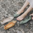 流行女鞋2020新款尖头单鞋百搭水钻方扣女鞋平底浅口舒适休闲鞋女 歐韓時代