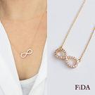 簡約時尚 微鑲鋯石鑽 愛無限 玫瑰金鎖骨短項鍊 -FiDA