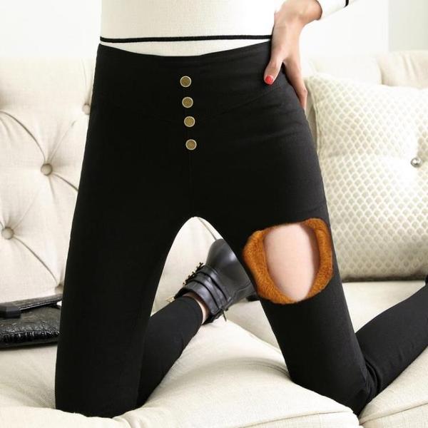 打底褲女褲秋 季 新款韓版高腰小腳鉛筆外穿 加絨保暖棉褲 科炫數位