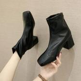 短靴 靴子女時尚年新款秋季方頭韓版百搭粗跟個性氣質短筒靴潮 降價兩天